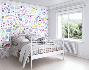 Soft Social Text Graffiti Ready Made Wall Mural