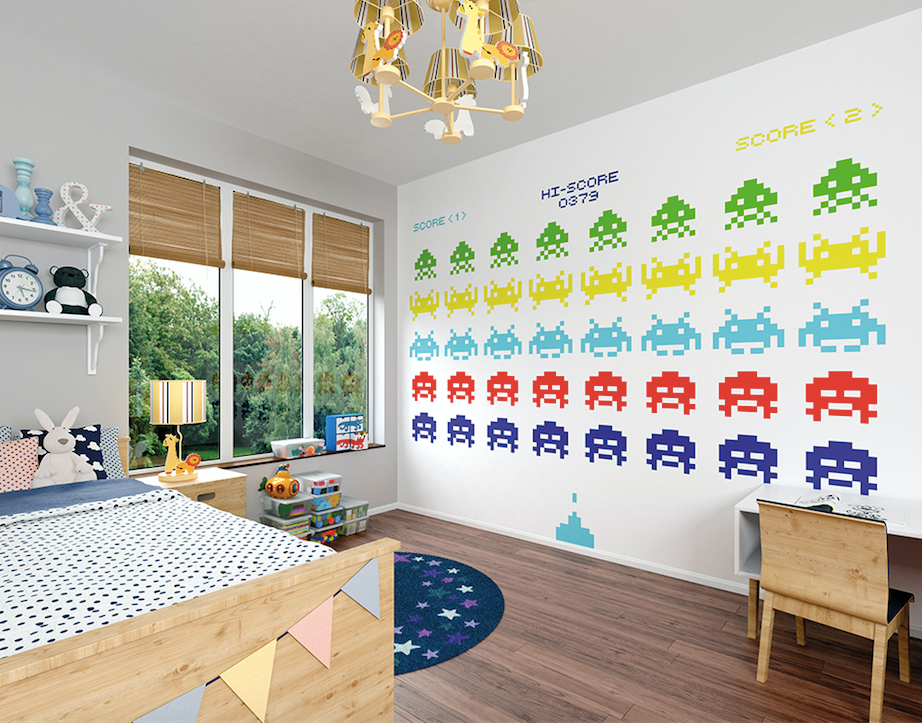 This Battle in Space Wall Mural is such a fun vintage game using brighly coloured space aliens - who can get the highest score? Perfect for a toddler bedroom or playroom.