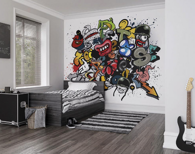 Graffiti like in its inspiration, this stylised design is packed with colour, fun and interest.