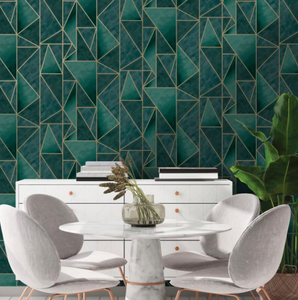 A teal and gold geometric combination works beautifully in this angular design.