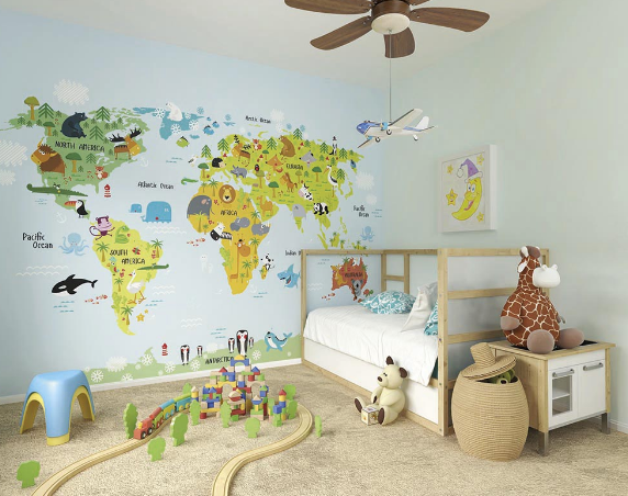 Travel continents and discover the lions in Africa, pandas in China and polar bears in the artic.  Best of all this wall mural for a child's bedroom is educational too!