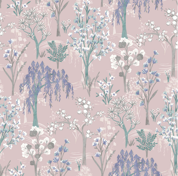 Pink Tree Silhouettes wallpaper is such a lovely design to give an oriental or even scandinavian feel to any room.