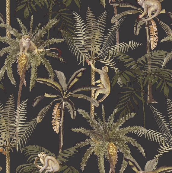 This black and gold tropical wallpaper for walls is sure to get some attention once up on your walls, with swinging monkeys in palm trees.