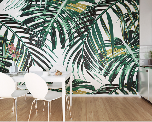 These bright and lush green leaves make this design a great tropical leaf wallpaper option. You can almost feel the cool breeze through these leaves.