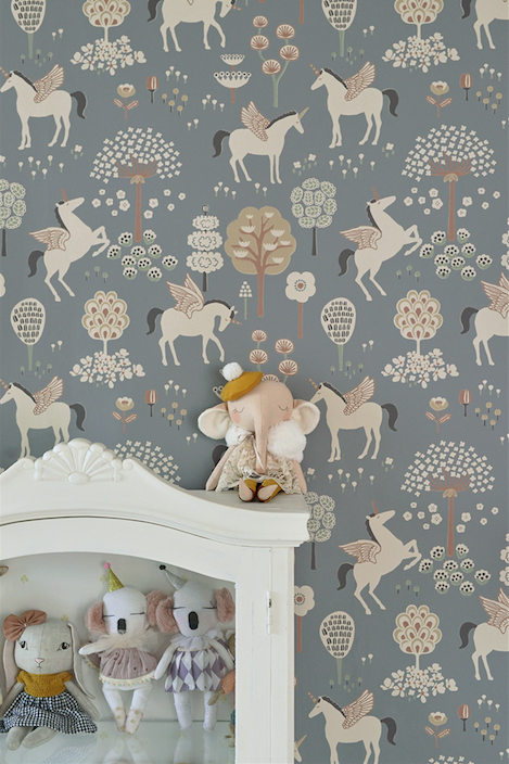 This Magical Unicorn Light Blue Wallpaper design is a combination of blossoms, trees, and unicorns with their wings in a soft blue colour will add vibrance and warmth to any girl's room or baby room.