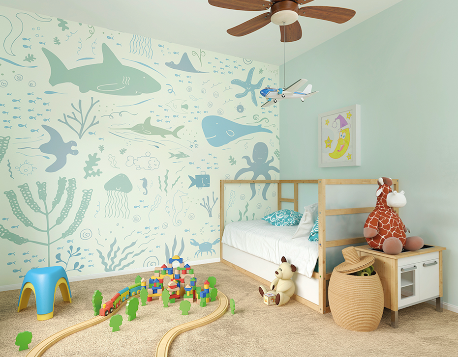 A look into life under the sea.  A charming wall mural for a kids bedroom, nursery, or playroom.