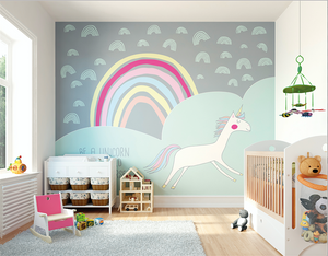 This unicorn mural wallpaper completes any nursery with its fun and dreamy colours and design.