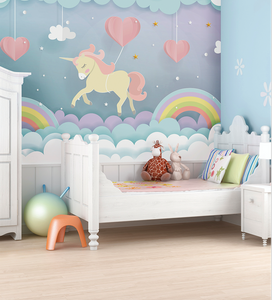 Transform your child's baby room into a dreamy fairytale. What a delightful unicorn and rainbow wallpaper with hearts and puffy clouds.