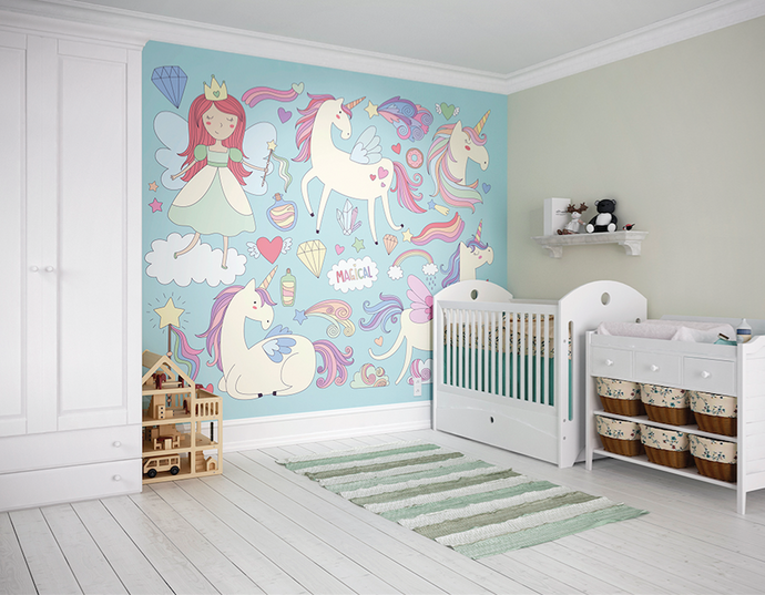 Mermaids and unicorn make for a delightful baby room wallpaper.