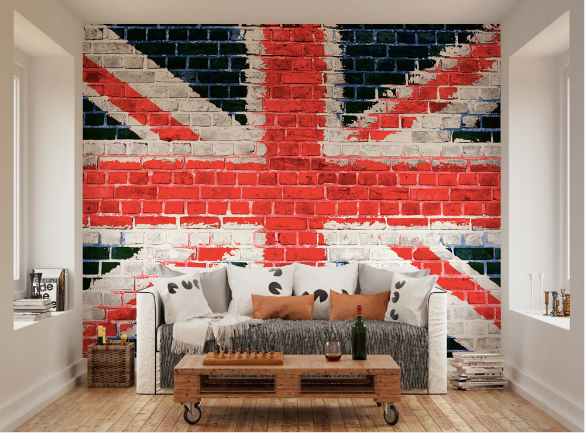 The use of White bricks, including red bricks and navy blue bricks gives a fun edge to the brick effect. Create an amazing feature wallpaper mural with this design.