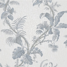 This gorgeous vintage floral design wallpaper is true luxury! This Italian heavyweight vinyl has a tropical floral traiil design and is available in blue, Ochre, Green and Grey. Ideal for hallways, passageways, and guest bathrooms.
