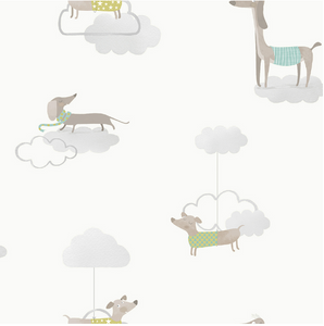 Grey Wallpaper with dogs and clouds.