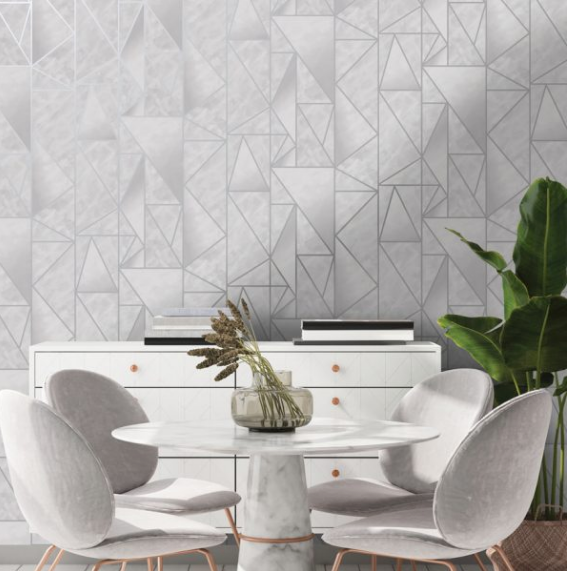Wallpaper with geometrics can really make a difference to a room- this design in grey and silver is great for a home office or boardroom.