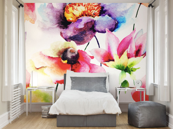 Although beautifully colourful, the watercolours used to create this design gives this mural a softer edge, perfect for those of you wanting a modern design with a nod to the traditional.