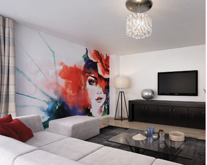 Watercolour Lady Ready Made Wall Mural