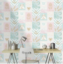 Room shot of wild and free wallpaper in pink and blue