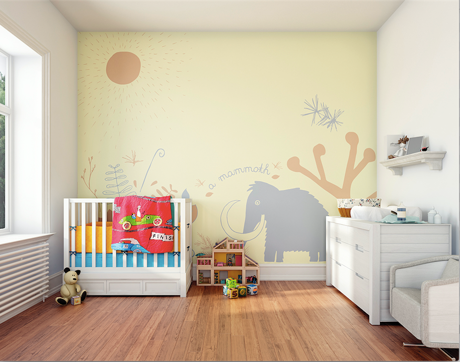 Featuring an illustrated Mammoth frolicking around in ancient fauna laid out on a simple background, this wallpaper mural for walls will spark their imaginations whilst also giving their baby room a beautifully stylish vibe.