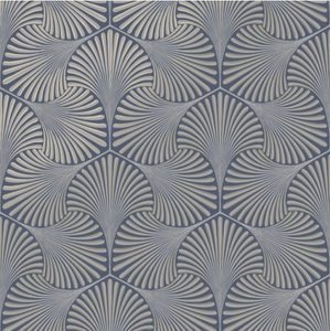 This art deco wallpaper pattern is true luxury and elegant style with the nacy and silver geometric shapes and patterns.