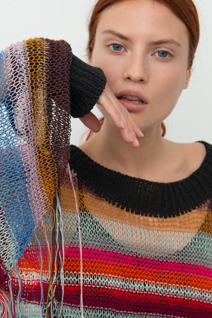 Fringed Linen Jumper Detail