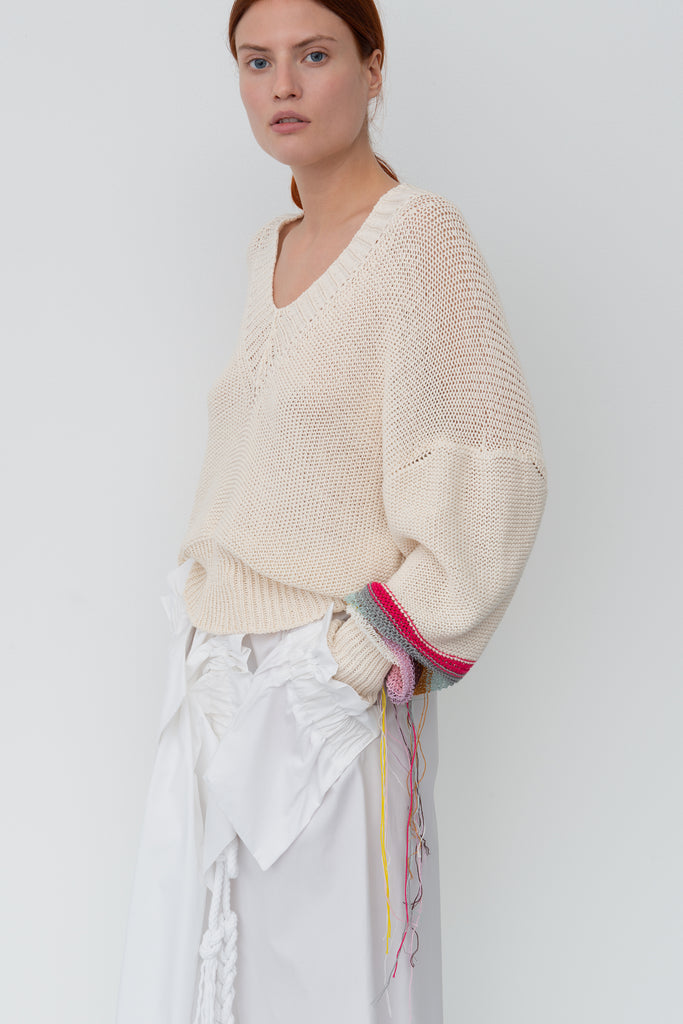 One Arm Fringe Knit Jumper and Pocket Skirt