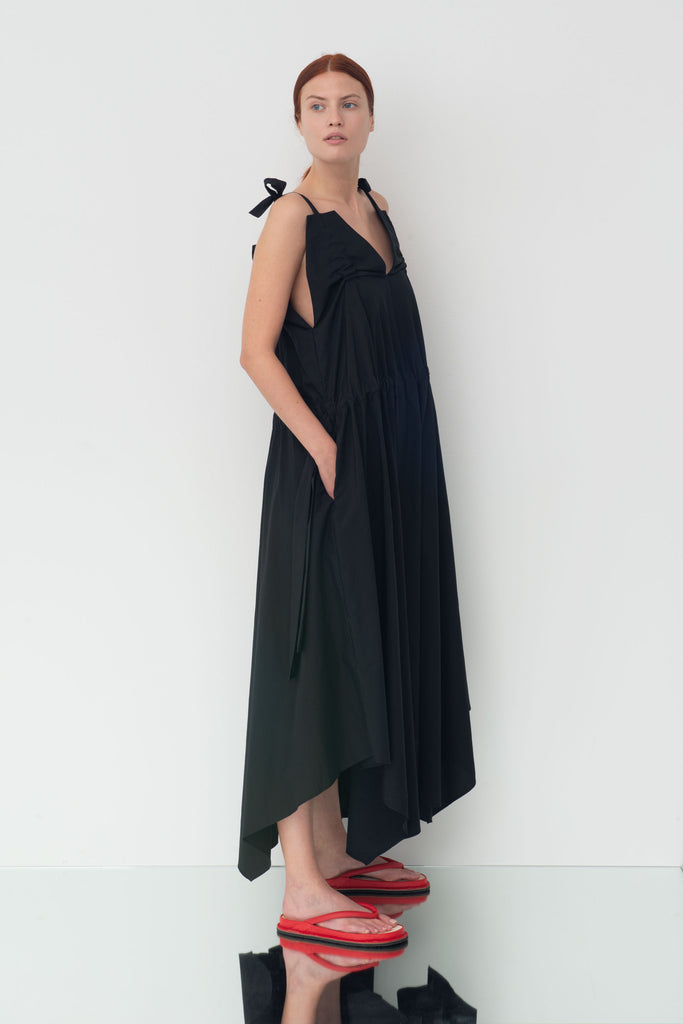 Black cotton maxi-dress Molly, shoulder straps