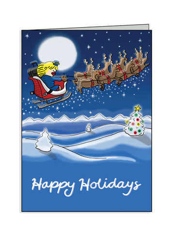 Flight Attendant in Sled - Holiday Greeting Card
