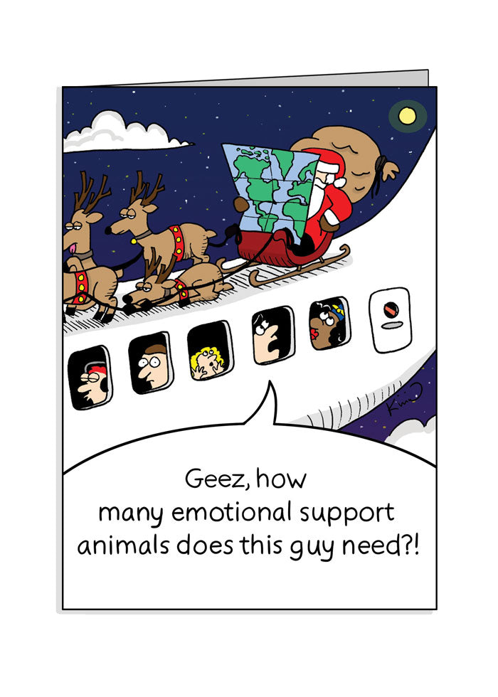 Jetlagged Comic Emotional Support Santa Greeting Card front