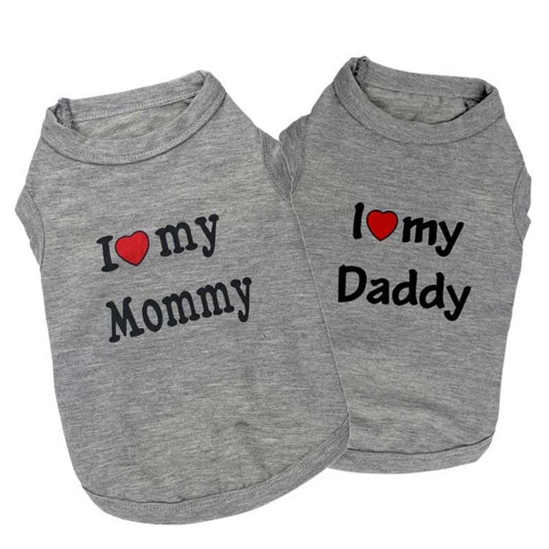 """Love Mommy"" Clothes for Small Dogs"