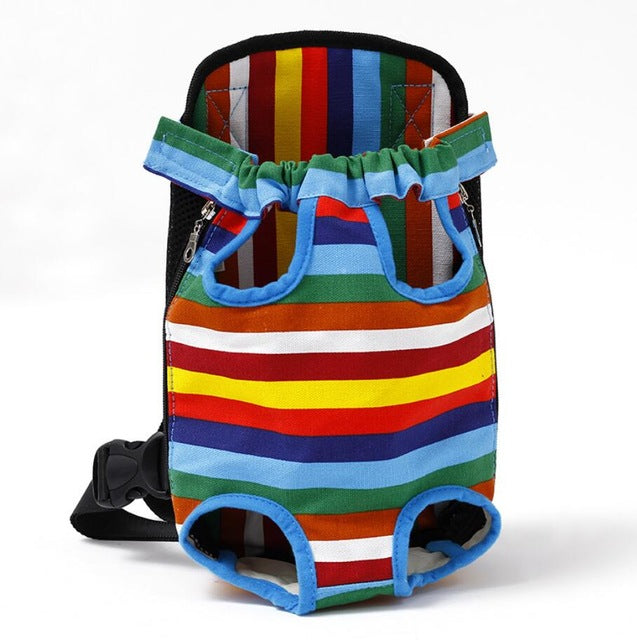 Colorful Strip Pattern Dogs Legs Out Front Carrier