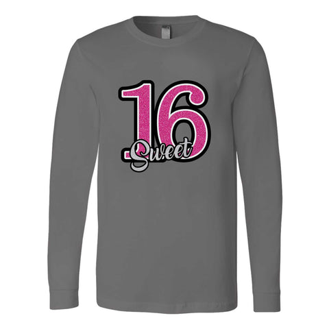 16th Birthday Sixteen Graphic Long Sleeve T-Shirt