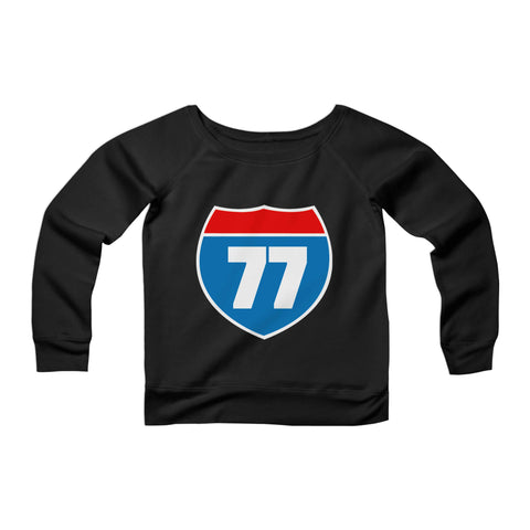 40th Birthday Gifts 77 CPY Womans Wide Neck Sweatshirt Sweater