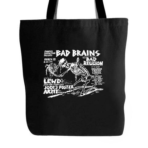 Bad Brains Flyer Hard Core Retro Punk Rock Tote Bag