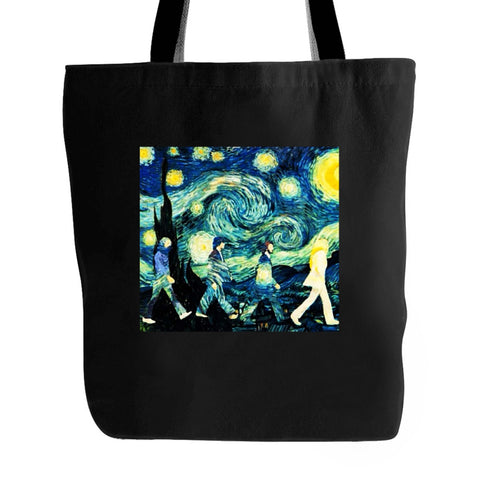Beatles Inspired Starry Night And Abbey Road Band Painter Van Gogh Tote Bag
