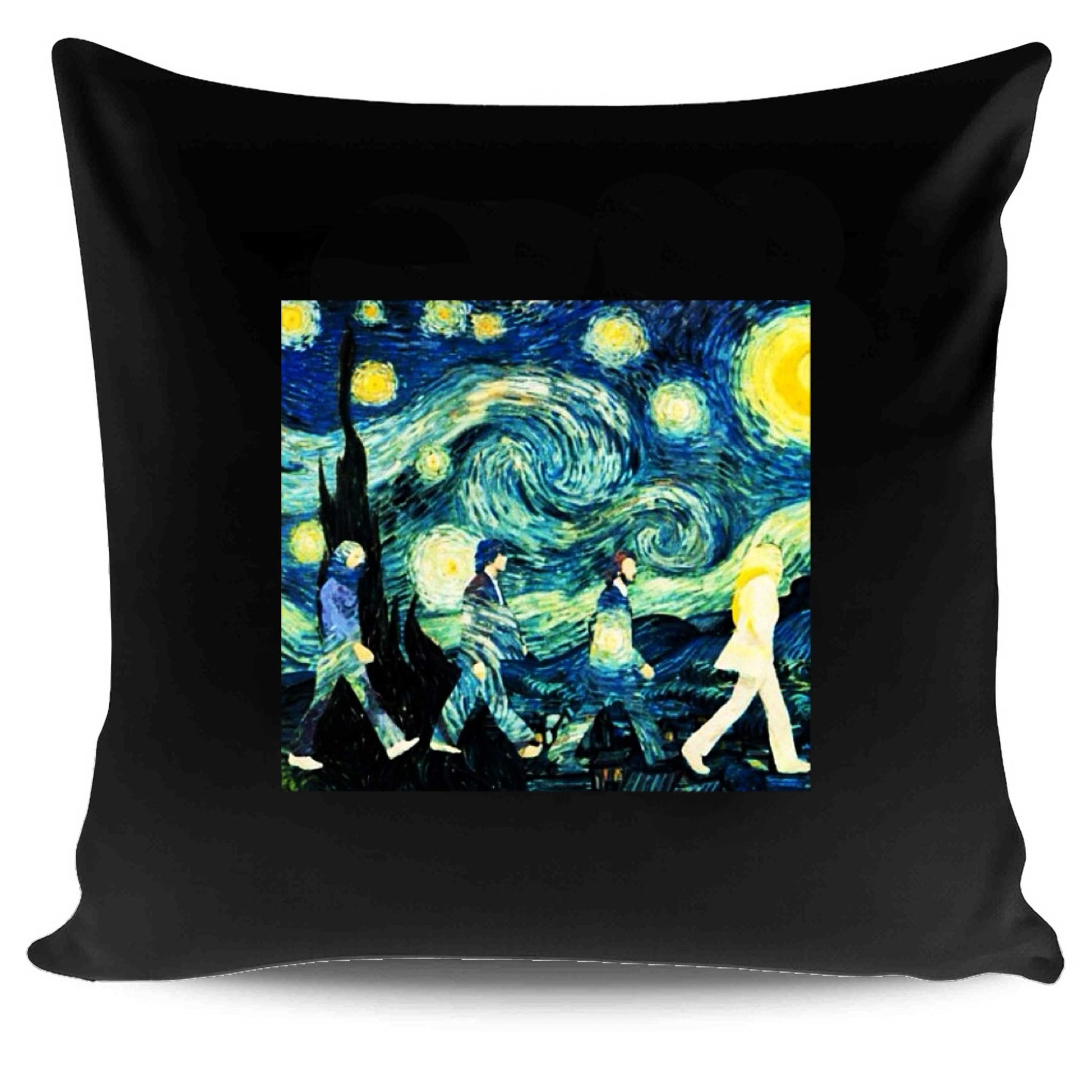 Beatles Inspired Starry Night And Abbey Road Band Painter Van Gogh Pillow Case Cover