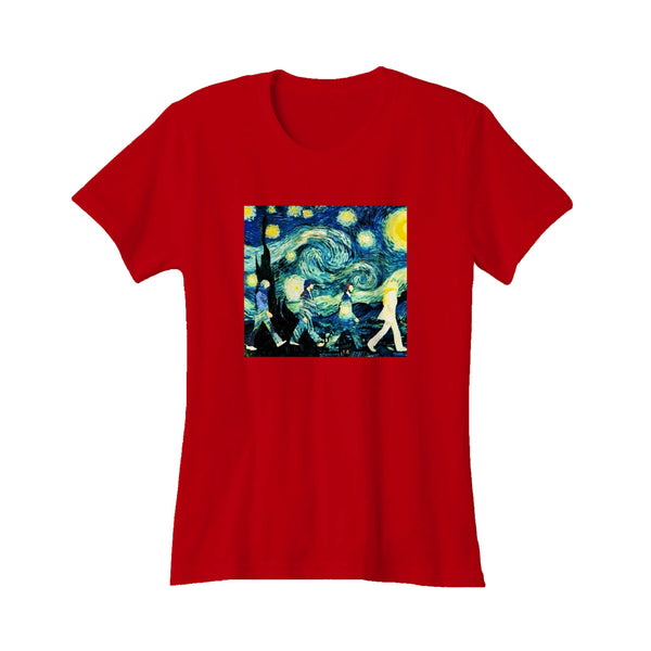 Beatles Inspired Starry Night And Abbey Road Band Painter Van Gogh Women's T-Shirt