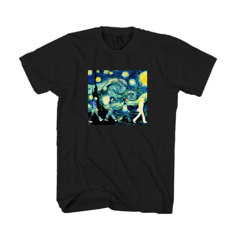 Beatles Inspired Starry Night And Abbey Road Band Painter Van Gogh Man's T-Shirt