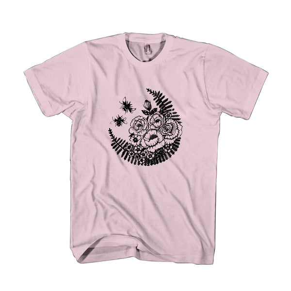 Bees And Roses Illustrated Drawn Pen And Ink Art Flowers Nature Vintage Tattoo Style Man's T-Shirt