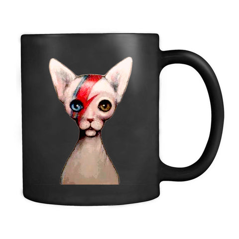 Cat Insane David Bowie Alladin Sane Spin Off With Sphynx Cat By Nina Friday Glam Rock Cat Lovers Lightning Bolt Hairless Cat White Cat Fleece Blanket Mug