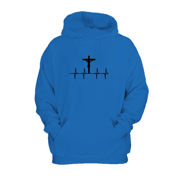 Christian With Cross And Heartbeat Design Hoodie