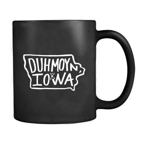 Duh Moyn Iowa Des Moines Outline Midwest Funny Graphic Hand Lettered Mug