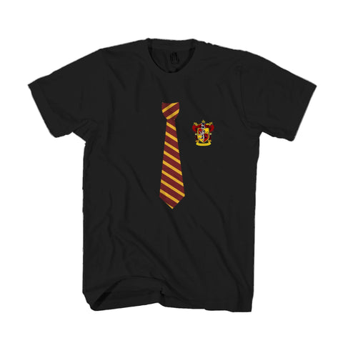 Gryffindor Harry Potter Tie And Crest Hogwarts Alumni Gryffindor Quidditch Ravenclaw Slytherin Hufflepuff Ron Weasley Wands Magic Wizardry Man's T-Shirt