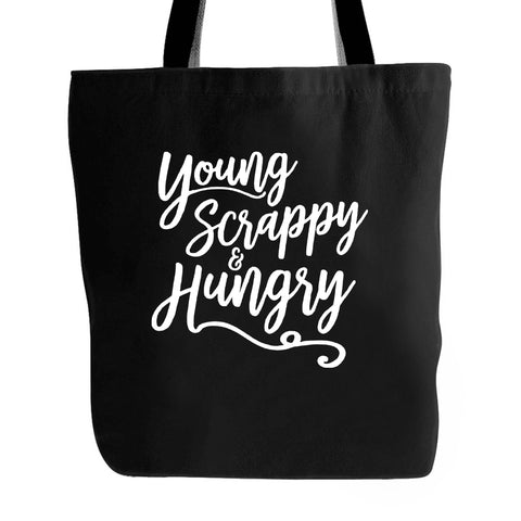 Hamilton Musical Young Scrappy Hungry Funny Theatre Graphic Thespian Gift Broadway Show Typography Drama Club Straight Outta Rehearsal Tote Bag