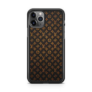 LV Pattern Black Gold Leather iPhone 11 Pro Max Case