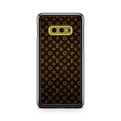 LV Pattern Black Gold Leather Samsung Galaxy S10 Case