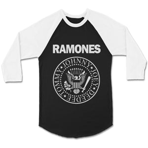 Official The Ramones Band Logo Unisex 3/4 Sleeve Baseball Tee T-Shirt