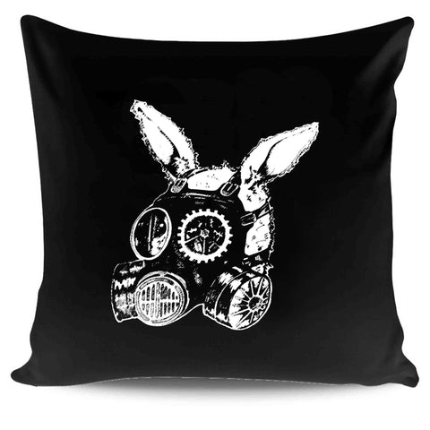 Post Apocalyptic Rabbit Original Art Bunny Steam Punk Gas Mask Watership Down Critical Eggplant Pillow Case Cover