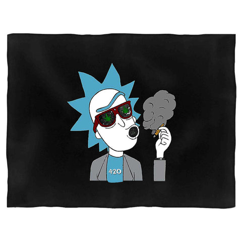 Rick and Morty Dab Rig Cannabis Marijuana Stoner Gift Blanket