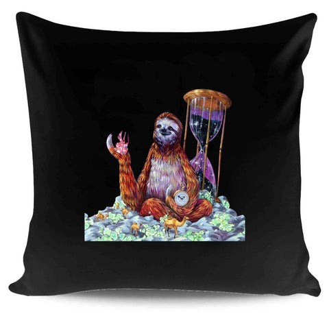 Sloth Art Surreal Time Master Poop Design By Black Ink Art Pillow Case Cover