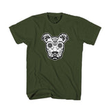 St Patricks Day Sugar Skull Pitbull Ireland Flag Man's T-Shirt