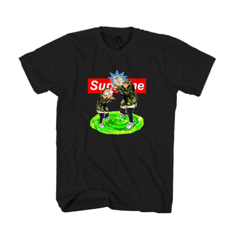 Supreme Rick And Morty Logo Box Green Portal Anime Man's T-Shirt